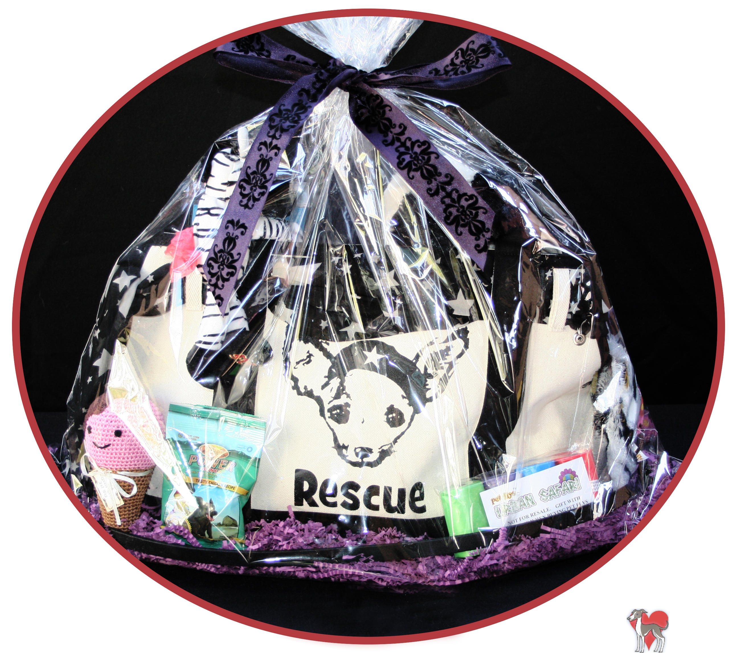 pet raffle basket, dog raffle basket, rescue raffle, romp rescue, romp italian greyhound, petflys, pet flys, pet carrier, trendy pet carriers, pet totes, pet travel carriers, pet travel totes